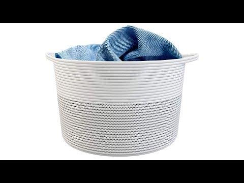 "GreenMan XXXLarge Cotton Rope Basket 21.7"" x 21.7"" x 13.8"" with Handles | Toy Storage Organizer"